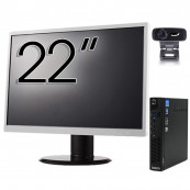 Pachet Calculator Lenovo ThinkCentre M92p Mini PC, Intel Core i5-3470T 2.90GHz, 8GB DDR3, 120GB SSD + Monitor 22 Inch + Webcam + Tastatura si Mouse, Second Hand Solutii de lucru pentru acasa sau scoala