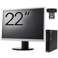 Pachet Calculator Lenovo ThinkCentre M92p Mini PC, Intel Core i5-3470T 2.90GHz, 8GB DDR3, 120GB SSD + Monitor 22 Inch + Webcam + Tastatura si Mouse