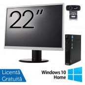 Pachet Calculator Lenovo ThinkCentre M92p Mini PC, Intel Core i5-3470T 2.90GHz, 8GB DDR3, 120GB SSD + Monitor 22 Inch + Webcam + Tastatura si Mouse + Windows 10 Home, Refurbished Solutii de lucru pentru acasa sau scoala
