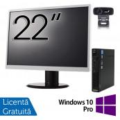Pachet Calculator Lenovo ThinkCentre M92p Mini PC, Intel Core i5-3470T 2.90GHz, 8GB DDR3, 120GB SSD + Monitor 22 Inch + Webcam + Tastatura si Mouse + Windows 10 Pro, Refurbished Solutii de lucru pentru acasa sau scoala