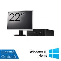 Pachet Calculator HP 800 G1 SFF, Intel Core i7-4770 3.40GHz, 16GB DDR3, 240GB SSD + Monitor 22 Inch + Windows 10 Home