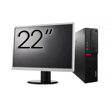 Pachet Calculator LENOVO M700 SFF, Intel Core i3-6100 3.70GHz, 8GB DDR4, 240GB SSD + Monitor 22 Inch, Second Hand Solutii de lucru pentru acasa sau scoala