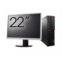 Pachet Calculator LENOVO M700 SFF, Intel Core i3-6100 3.70GHz, 8GB DDR4, 500GB SATA + Monitor 22 Inch