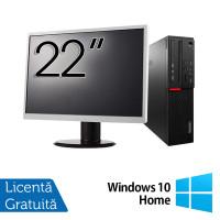 Pachet Calculator LENOVO M700 SFF, Intel Core i3-6100 3.70GHz, 8GB DDR4, 500GB SATA + Monitor 22 Inch + Windows 10 Home
