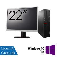 Pachet Calculator LENOVO M700 SFF, Intel Core i3-6100 3.70GHz, 8GB DDR4, 500GB SATA + Monitor 22 Inch + Windows 10 Pro