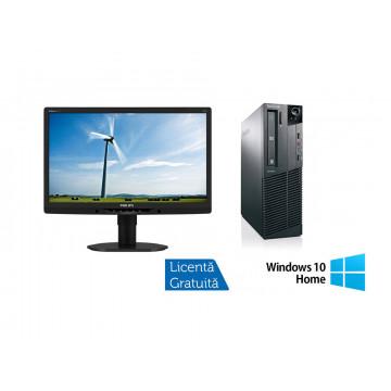 Pachet Calculator Lenovo ThinkCentre M83 SFF, Intel Core i5-4570 3.20 GHz, 8GB DDR3, 500GB SATA + Windows 10 Home + Monitor Philips 221B3L, 22 Inch LED Full HD, VGA, DVI, USB, Boxe Integrate, Culoare Gri, Refurbished Oferte Pachete IT