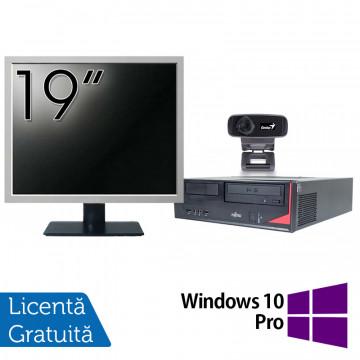 Pachet Calculator Fujitsu E410, Intel Core i3-3220 3.30GHz, 4GB DDR3, 500GB SATA + Monitor 19 Inch + Webcam + Tastatura si Mouse + Windows 10 Pro, Refurbished Solutii de lucru pentru acasa sau scoala