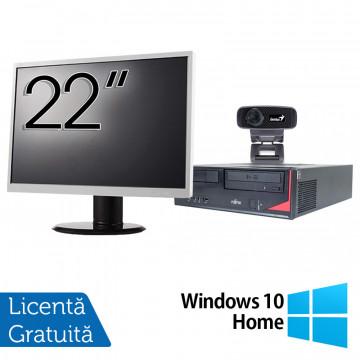 Pachet Calculator Fujitsu E410, Intel Core i3-3220 3.30GHz, 4GB DDR3, 500GB SATA + Monitor 22Inch + Webcam + Tastatura si Mouse + Windows 10 Home, Refurbished Solutii de lucru pentru acasa sau scoala
