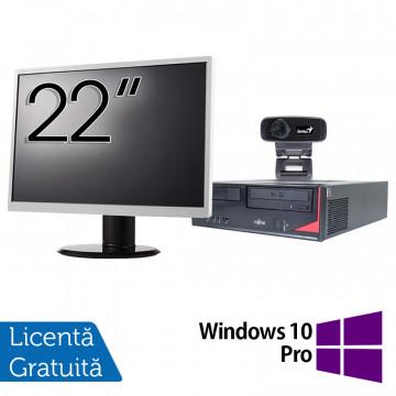 Pachet Calculator Fujitsu E410, Intel Core i3-3220 3.30GHz, 4GB DDR3, 500GB SATA + Monitor 22Inch + Webcam + Tastatura si Mouse + Windows 10 Pro, Refurbished Solutii de lucru pentru acasa sau scoala