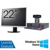 Pachet Calculator Fujitsu E420, Intel Pentium G3260 3.30GHz, 4GB DDR3, 500GB SATA + Monitor 22 Inch + Webcam + Tastatura si Mouse + Windows 10 Home, Refurbished Solutii de lucru pentru acasa sau scoala