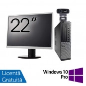Pachet Calculator Fujitsu E420, Intel Pentium G3260 3.30GHz, 4GB DDR3, 500GB SATA + Monitor 22 Inch + Webcam + Tastatura si Mouse + Windows 10 Pro, Refurbished Solutii de lucru pentru acasa sau scoala