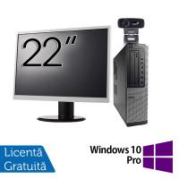 Pachet Calculator Fujitsu E420, Intel Pentium G3260 3.30GHz, 4GB DDR3, 500GB SATA + Monitor 22 Inch + Webcam + Tastatura si Mouse + Windows 10 Pro