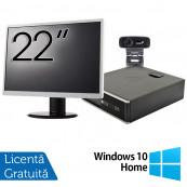Pachet Calculator HP 6300 SFF, Intel Core i3-2120 3.30GHz, 4GB DDR3, 500GB SATA + Monitor 22 Inch + Webcam + Tastatura si Mouse + Windows 10 Home, Refurbished Solutii de lucru pentru acasa sau scoala