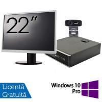Pachet Calculator HP 6300 SFF, Intel Core i3-2120 3.30GHz, 4GB DDR3, 500GB SATA + Monitor 22 Inch + Webcam + Tastatura si Mouse + Windows 10 Pro