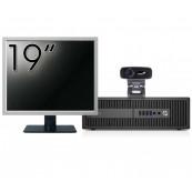 Pachet Calculator HP 800 G2 SFF, Intel Core i5-6500 3.20GHz, 8GB DDR4, 240GB SSD + Monitor 19 Inch + Webcam + Tastatura si Mouse, Second Hand Solutii de lucru pentru acasa sau scoala