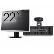 Pachet Calculator HP 800 G2 SFF, Intel Core i5-6500 3.20GHz, 8GB DDR4, 240GB SSD + Monitor 22 Inch + Webcam + Tastatura si Mouse, Second Hand Solutii de lucru pentru acasa sau scoala