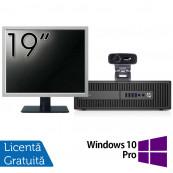 Pachet Calculator HP Prodesk 600 G2 SFF, Intel Core i3-6100 3.70GHz, 4GB DDR4, 500GB SATA, DVD-RW + Monitor 19 Inch + Webcam + Tastatura si Mouse + Windows 10 Pro, Refurbished Solutii de lucru pentru acasa sau scoala