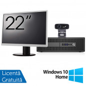 Pachet Calculator HP Prodesk 600 G2 SFF, Intel Core i3-6100 3.70GHz, 4GB DDR4, 500GB SATA, DVD-RW + Monitor 22 Inch + Webcam + Tastatura si Mouse + Windows 10 Home, Refurbished Solutii de lucru pentru acasa sau scoala