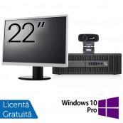 Pachet Calculator HP Prodesk 600 G2 SFF, Intel Core i3-6100 3.70GHz, 4GB DDR4, 500GB SATA, DVD-RW + Monitor 22 Inch + Webcam + Tastatura si Mouse + Windows 10 Pro, Refurbished Solutii de lucru pentru acasa sau scoala