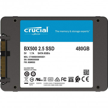 """Solid State Drive (SSD) Crucial BX500, 2.5"""", 480GB, SATA 6Gb/s Componente Laptop"""