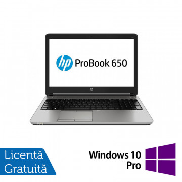 Laptop HP ProBook 650 G1, Intel Core i5-4200M 2.50GHz, 8GB DDR3, 320GB SATA, DVD-RW, 15 Inch + Windows 10 Pro, Refurbished Laptopuri Refurbished