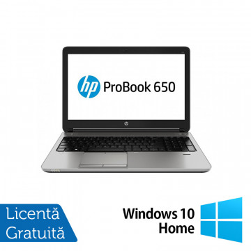 Laptop HP Probook 650 G1, Intel Core i5-4210M 2.60GHz, 8GB DDR3, 120GB SSD, Webcam, 15 Inch + Windows 10 Home, Refurbished Laptopuri Refurbished