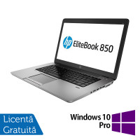 Laptop HP EliteBook 850 G2, Intel Core i5-5200U 2.20GHz, 8GB DDR3, 120GB SSD, 15 Inch + Windows 10 Pro