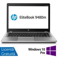 Laptop HP EliteBook Folio 9480m, Intel Core i7-4600U 2.10GHz, 8GB DDR3, 240GB SSD, 14 Inch, Webcam + Windows 10 Pro