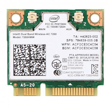 Modul Intel Dual Band Wireless-AC 7260 WLAN + Bluetooth 4.0, Mini-PCI Express, Second Hand Componente Laptop