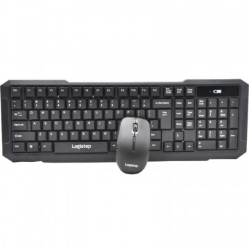 KIT LogiStep LSDK-0011, Tastatura wireless + Mouse wireless, negru Periferice