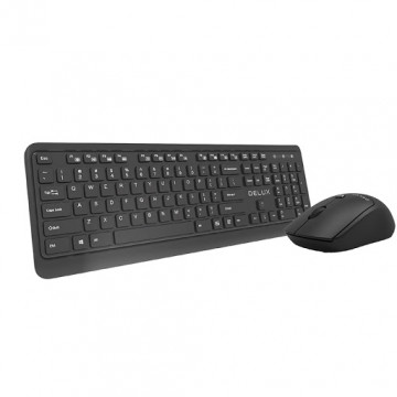 Kit Tastatura + Mouse Wireless Delux KA190G + M320GX, Negru Tastaturi