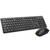 Kit Wireless Tastatura + Mouse Delux KA150G, Qwerty, USB, 12 Taste multimedia, Design Water-Proof, 1000 dpi, Negru, 2.4G Periferice