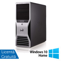 Workstation Dell T5500, Intel Xeon Hexa Core E5645 2.40GHz-2.67GHz, 8GB DDR3, 500GB SATA, AMD Radeon HD 7350 1GB GDDR3 + Windows 10 Home