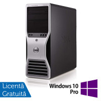 Workstation Dell T5500, Intel Xeon Hexa Core E5645 2.40GHz-2.67GHz, 8GB DDR3, 500GB SATA, AMD Radeon HD 7350 1GB GDDR3 + Windows 10 Pro