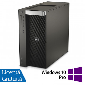 Workstation DELL Precision T7600 2 x Intel Xeon Octa Core E5-2687W 3.10GHz - 3.80GHz 20MB Cache, 32GB DDR3 ECC, SSD 120GB + HDD 1TB SATA, RAID PERC H200, nVidia Quadro 2000 1GB + Windows 10 Pro, Refurbished Workstation