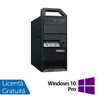 Workstation Lenovo ThinkStation E30 Tower, Intel Xeon Quad Core E3-1220 3.10GHz-3.40GHz, 8GB DDR3, 1TB SATA, nVidia Quadro 2000/1GB, DVD-ROM + Windows 10 Pro
