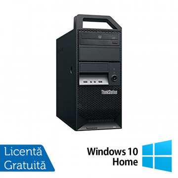 Workstation Lenovo ThinkStation E30 Tower, Intel Xeon Quad Core E3-1230 3.20GHz-3.60GHz, 8GB DDR3, 500GB SATA, nVidia NVS 300/512MB, DVD-ROM + Windows 10 Home, Refurbished Workstation