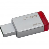 Stick memorie USB 3.0 Kingston DataTraveler 50, 32GB, Metal/Red Periferice