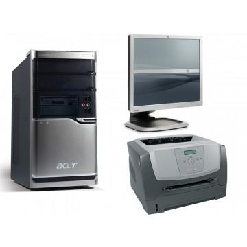 Acer Veriton M661, Core 2 Quad Q8200, 2.33Ghz, 2Gb, 160Gb + Monitor 19 inci grad A lux + Lexmark E350D