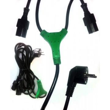 Cablu alimentare Y, 1x D03 Conector priza, 2x IEC 60320 C13 Conector PC, 2.3m