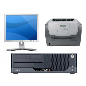 Calculatoare Fujitsu E5731, Core 2 Duo E 8400, 3.0Ghz, 2Gb DDR3, 160Gb + LCD 17 inci Grad A + Imprimanta Lexmark E350D