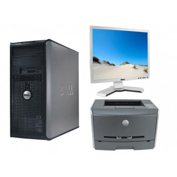 Calculatoare Tower Dell 755, Dual Core E5200, 2.5Ghz + Monitor LCD Dell 1908Fpb + Imprimanta Dell 1700N