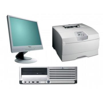 Calculator HP DC7700, Core 2 Duo E6300, 1.86Ghz, 1Gb, 80Gb + Monitor LCD 17 inci + Imprimanta Lexmark T430DN