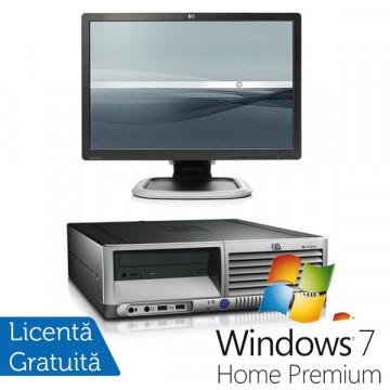 HP DC 7700, Dual Core, 2.8Ghz, 1Gb, 80Gb, DVD-ROM + Win 7 Premium + LCD HP L1945 Refurbished Calculatoare Second Hand