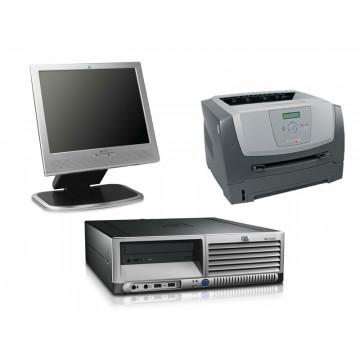 HP DC7600 SFF, Pentium 4 2.8Ghz, 1Gb, 80Gb, DVD-ROM + LCD 15 inci + Imprimanta Lexmark E350D