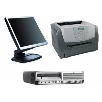 HP DC7600 USFF, Pentium 4 3.0Ghz, 1Gb, 80Gb + LCD 17 inci + Imprimanta Lexmark E350D