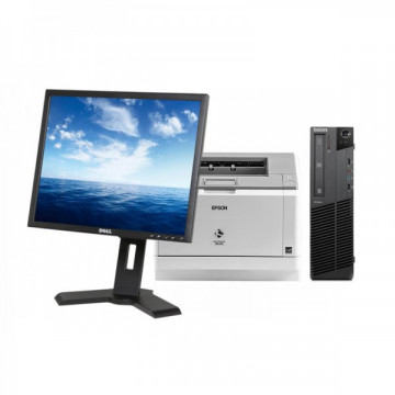 LENOVO Thinkcentre M91p SFF, Intel Core i5-2400 3.1 GHz, 4GB DDR3, 500GB SATA, DVD-RW + Monitor DELL P190ST + Imprimanta Epson M2400DN