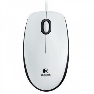 Mouse Optic Logitech B100, 800dpi, USB, Alb  Periferice