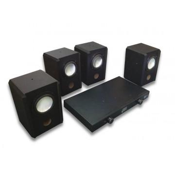 Statie amplificare audio, 4 iesiri x 10W + boxe  4x 15W, 8 Ohm