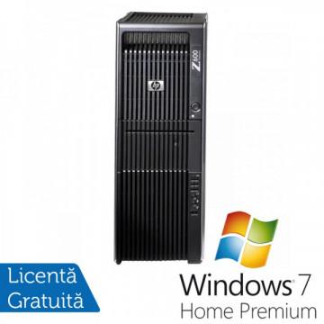 Statie Grafica HP Z600, 2x Intel Xeon Six Core E5645 2.40Ghz 12Mb Cache, 16Gb DDR3 ECC, 500GB HDD, DVD-ROM, Placa Video NVIDIA QUADRO FX3800 1GB 256bit + Windows 7 Home Premium